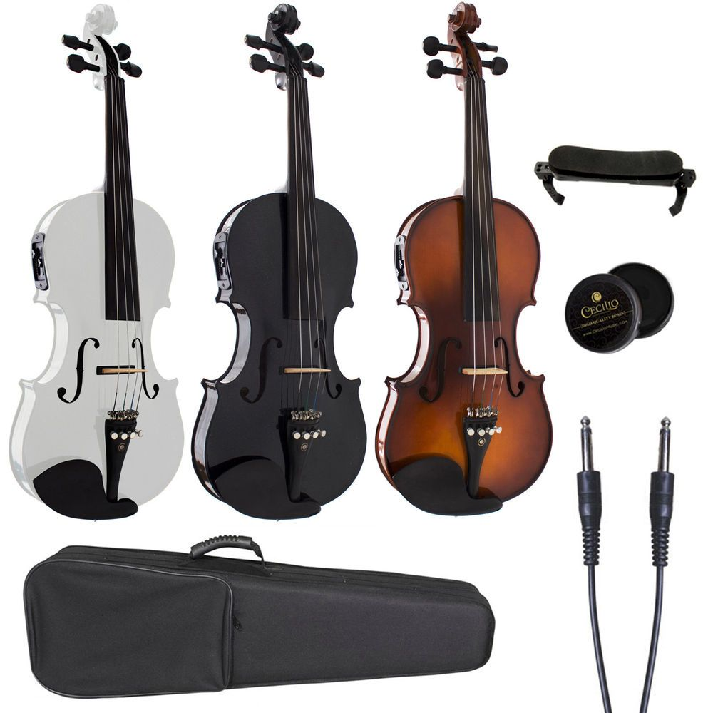details about cecilio acoustic electric violin ebony fitted natural wood black or white in. Black Bedroom Furniture Sets. Home Design Ideas