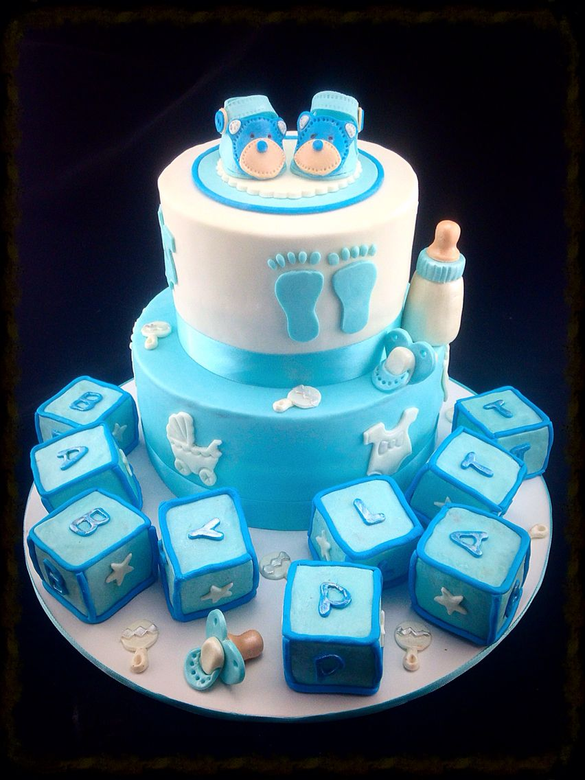 Baby Boy Baby Shower Cake Complete With Little Bear Baby
