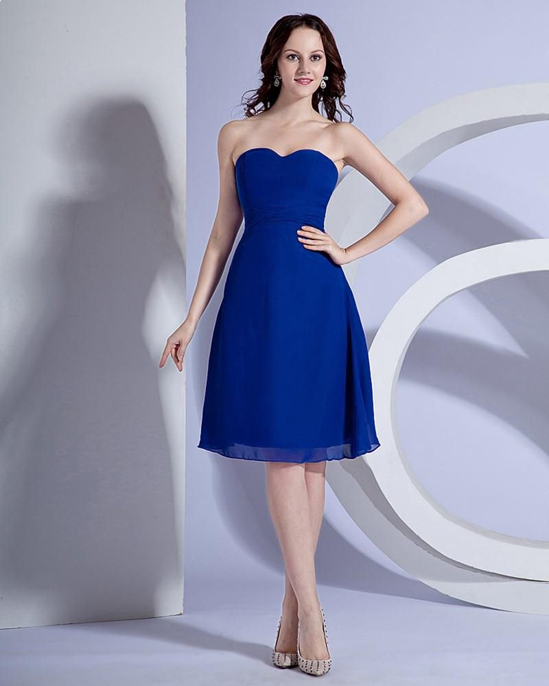 Sweetheart chiffon sash knee length bridesmaid dress gown wedding