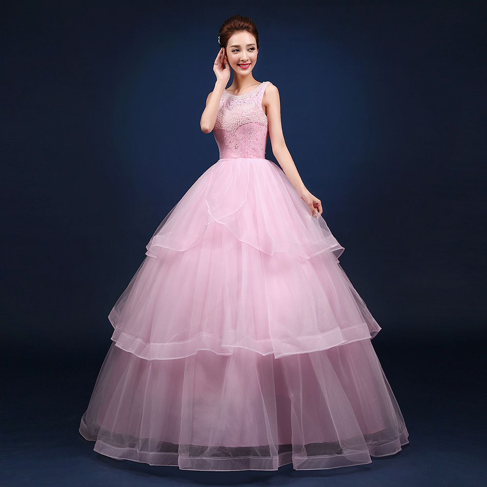 Click to Buy << light pink lace beading ball gown princess medieval ...