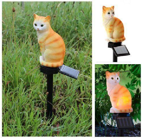 Solar Stableuchte sitzendes Kätzchen Beleuchtung rot/weiß sitzende