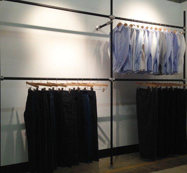 Diy Garment Rack For Men S Clothing Showroom Wall Mounted Clothing Rack Garment Rack Diy Wall Clothing Rack