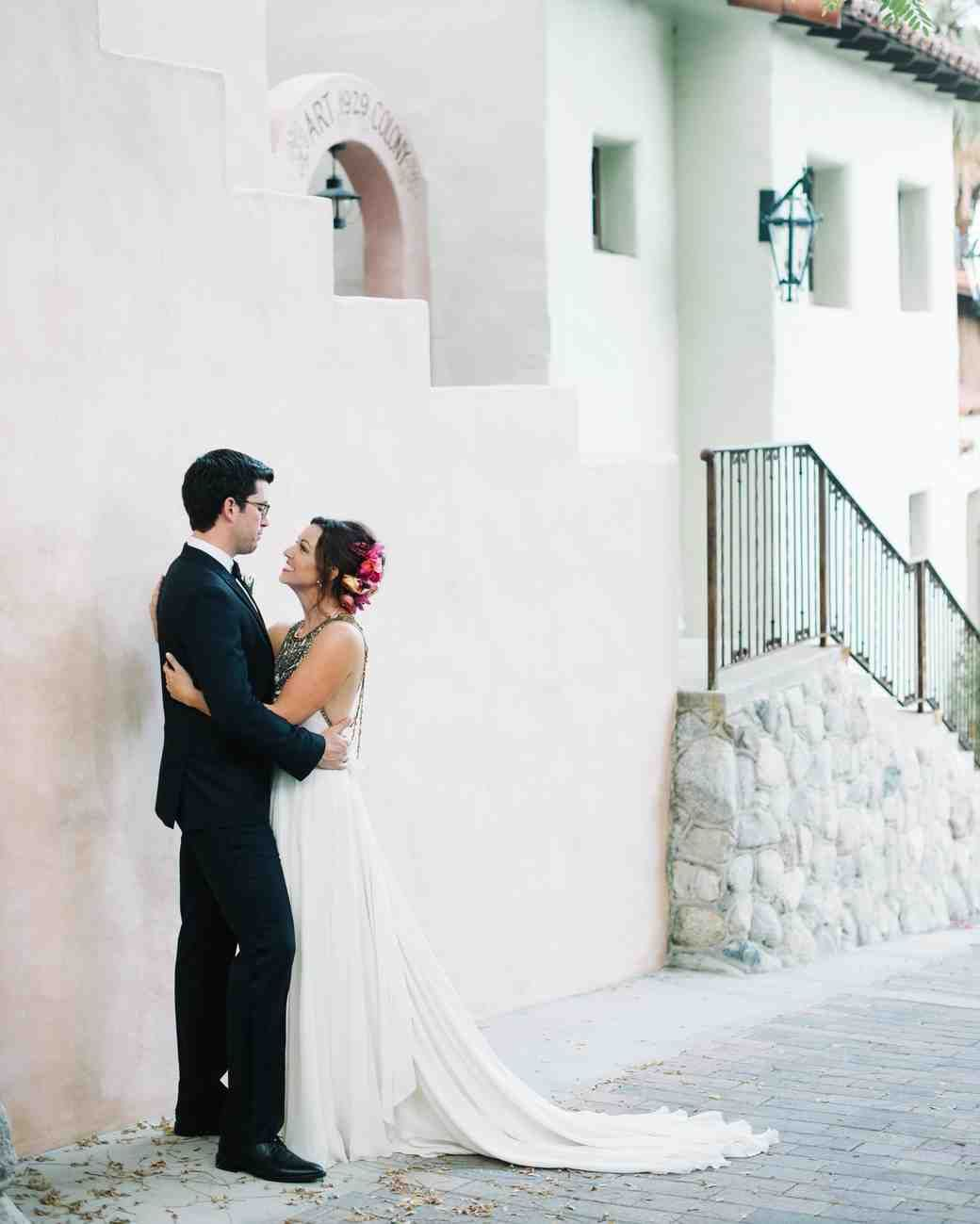 A cool eclectic wedding in the california desert the couple