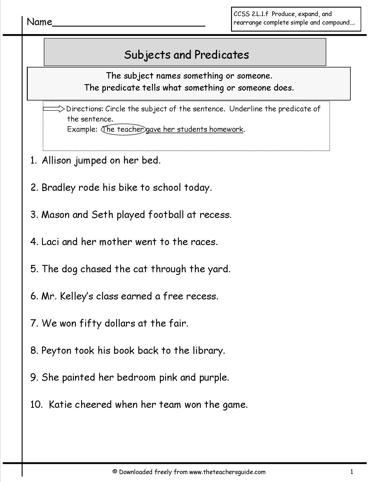 Subject And Predicate Worksheet More