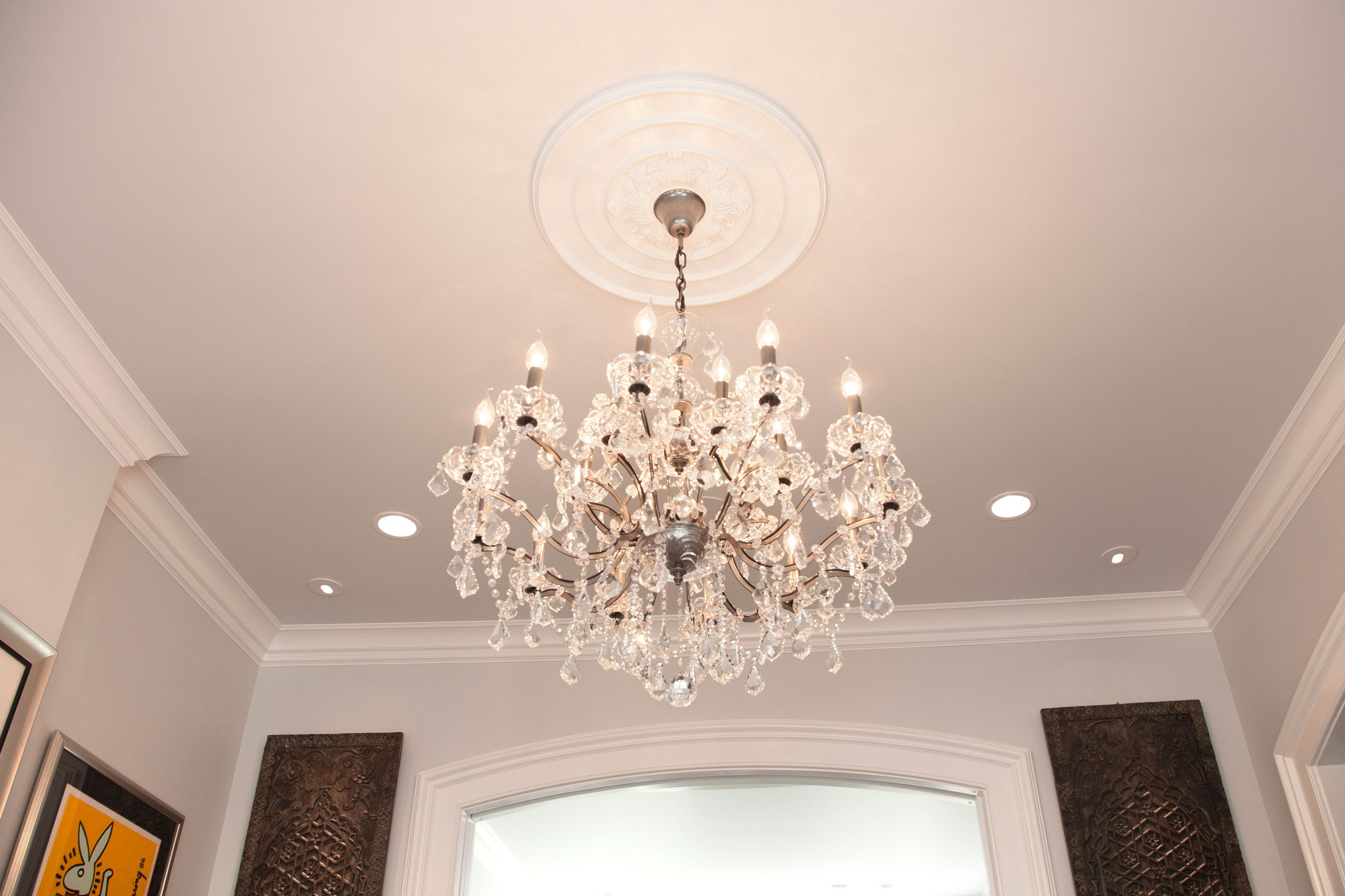 ceiling chandelier on medallions setup archived lighting medallion full plaster oval delectable light custom size of
