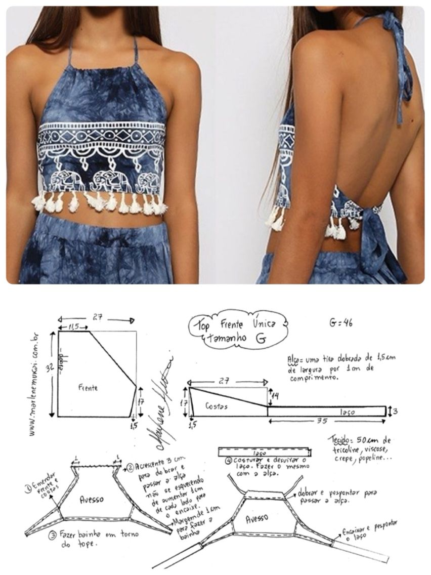 Crop top: thinking about adapting this for a dress. | Diy Roupas ...