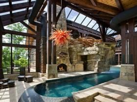 Fireplace and pool