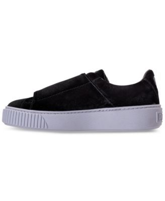 29a8cd58d4f Puma Women s Basket Platform Strap Velvet Rope Casual Sneakers from Finish  Line - Black 9.5
