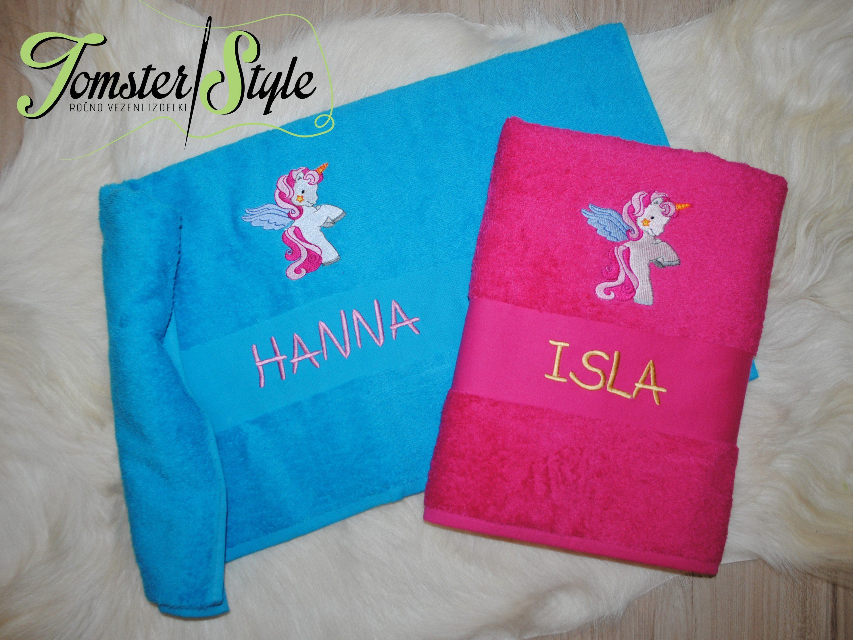 Personalized Bath Towel Unicorns Embroidery Gift Embroidered