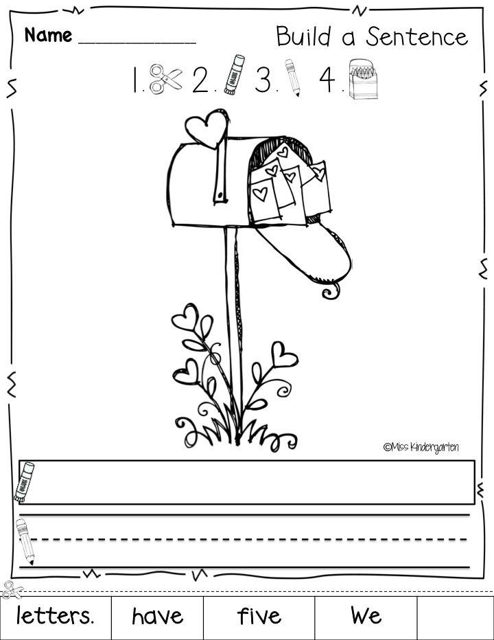 february printables sentence building kinderland collaborative kindergarten writing. Black Bedroom Furniture Sets. Home Design Ideas