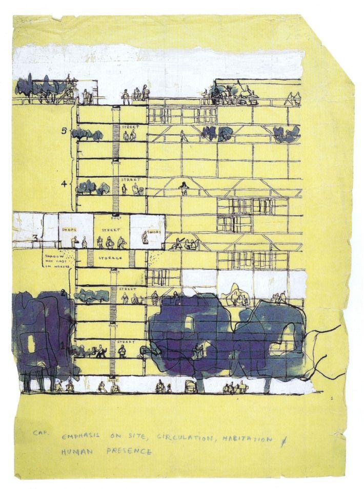 Alison and Peter Smithson, Golden Lane Housing (Project), 1952 |  Arquitectura brutalista, Dibujos de arquitectura, Dibujo arquitectonico