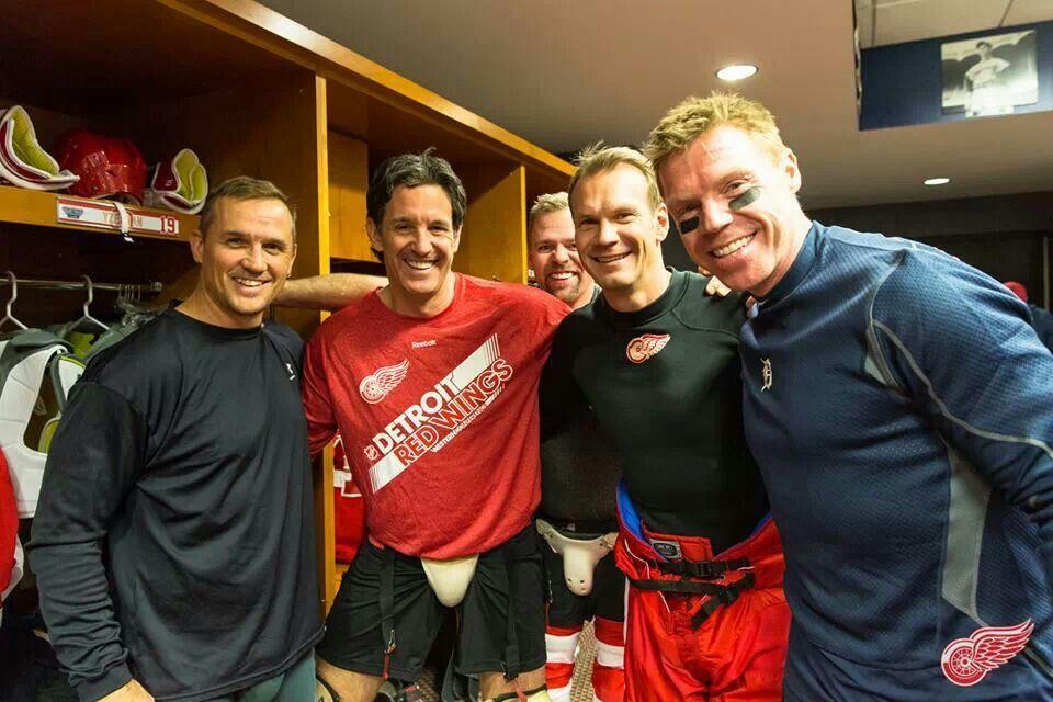 Steve Yzerman, Brendan Shanahan, Nick Lidstrom, and Drapes