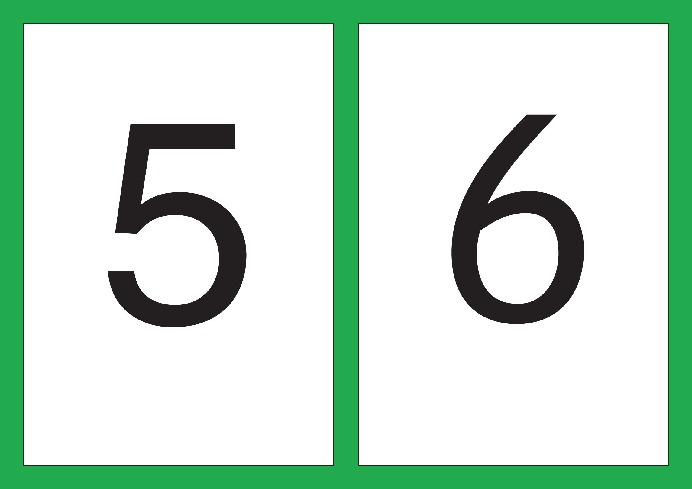A5 Flash Cards Of Digits 1 10