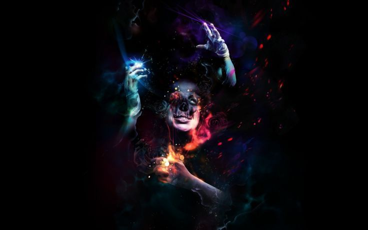 Cg Digital Dark Horror Gothic Face Magic Surreal Psychedelic Wallpaper Background