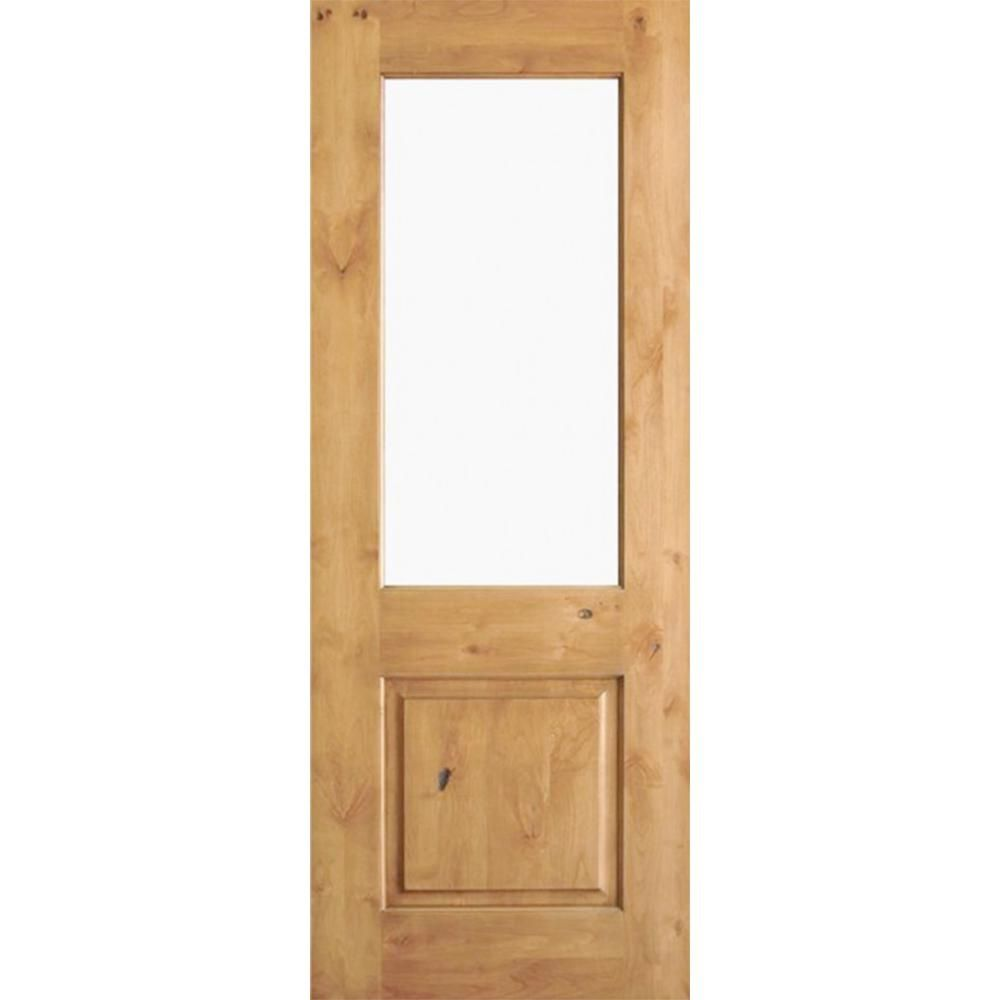 Krosswood Doors 32 In X 80 In Rustic Knotty Alder Wood Clear Glass Half Lite Clear Stain Left Hand Inswing Single Preh Knotty Alder Stained Doors Clear Stain