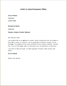 Letter From Client To Cancel Insurance Policy Download At Http