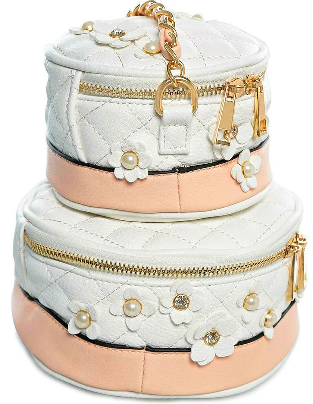 Aldo Rochelle Wedding Cake Cross Body Bag features quilted fabric with floral embellishments, pastel peach accents & the Happily Ever After message! Perfect for brides and romantic ladies!