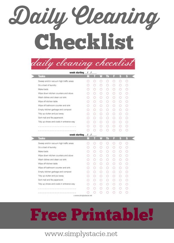 Daily Cleaning Checklist Daily cleaning checklist, Cleaning - daily checklist