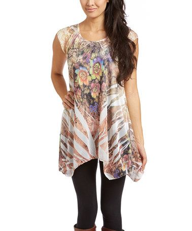 Look what I found on #zulily! Beige Sheer Sublimation Sidetail Tunic - Women by Michael K #zulilyfinds