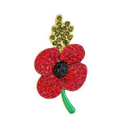 ca37be30018 Red Poppy Brooches Lapel Pin Badges Diamante Crystal Banquet Red Poppy  Flower Remembrance Day Gift Black