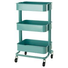 Ikea Raskog Kitchen Cart Turquoise Rolling Metal bedroom bath storage Retro NIP