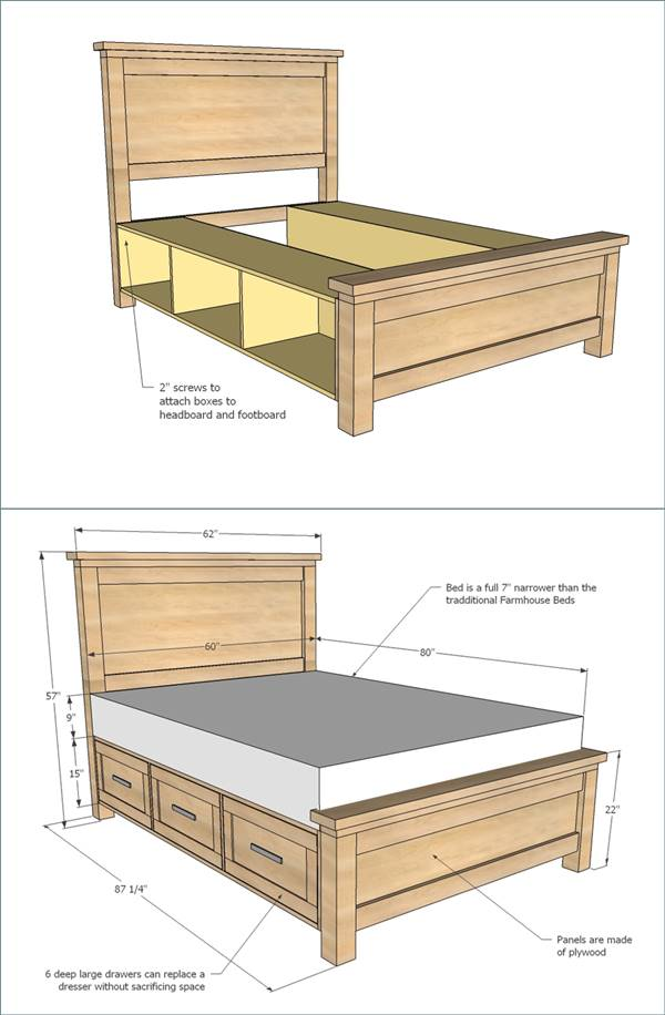25 Creative Diy Bed Projects With Free Plans I Creative Ideas Diy Farmhouse Bed Diy Storage Bed Bed Frame Plans