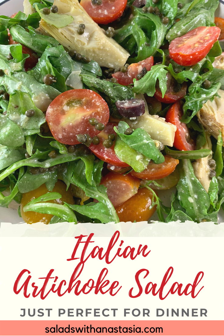 An easy Italian marinated artichoke salad recipe with a delightfully creamy Parmesan dressing that has sweet mini Roma Tomatoes, baby capers and peppery rocket making it bowl full of enticing Mediterranean flavours that you will have on your table in in just 15 minutes!#healthy #marinated #easy #keto
