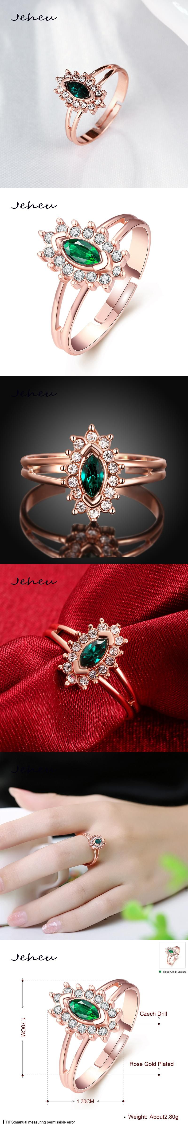 Sun Flower Elegant Lady Jewelry Green Zircon Rose Gold Ring Women