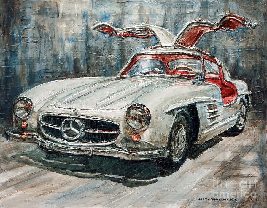 Gullwing Painting 1954 Mercedes Benz 300 Sl Gullwing By Joey Agbayani Mercedes Benz 300 Car Art Mercedes Benz