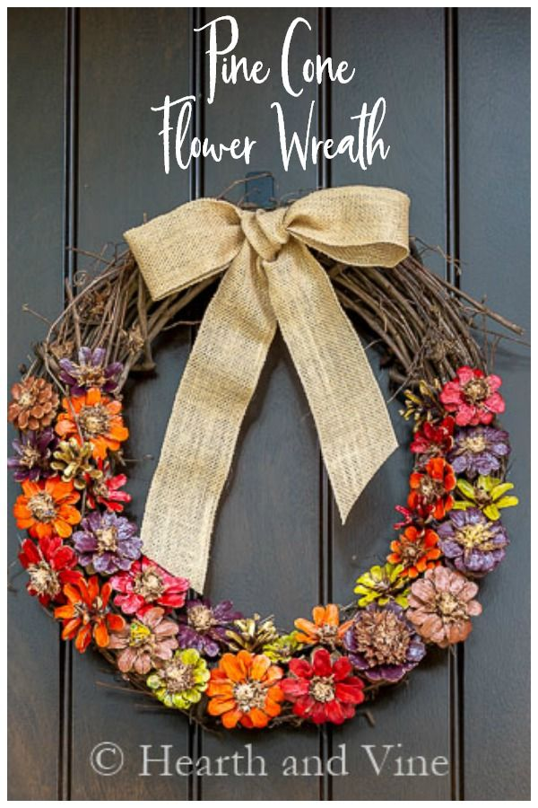make a pinecone flower wreath for fall pine cone flower on favorite diy fall decorating ideas add life to your home id=76470