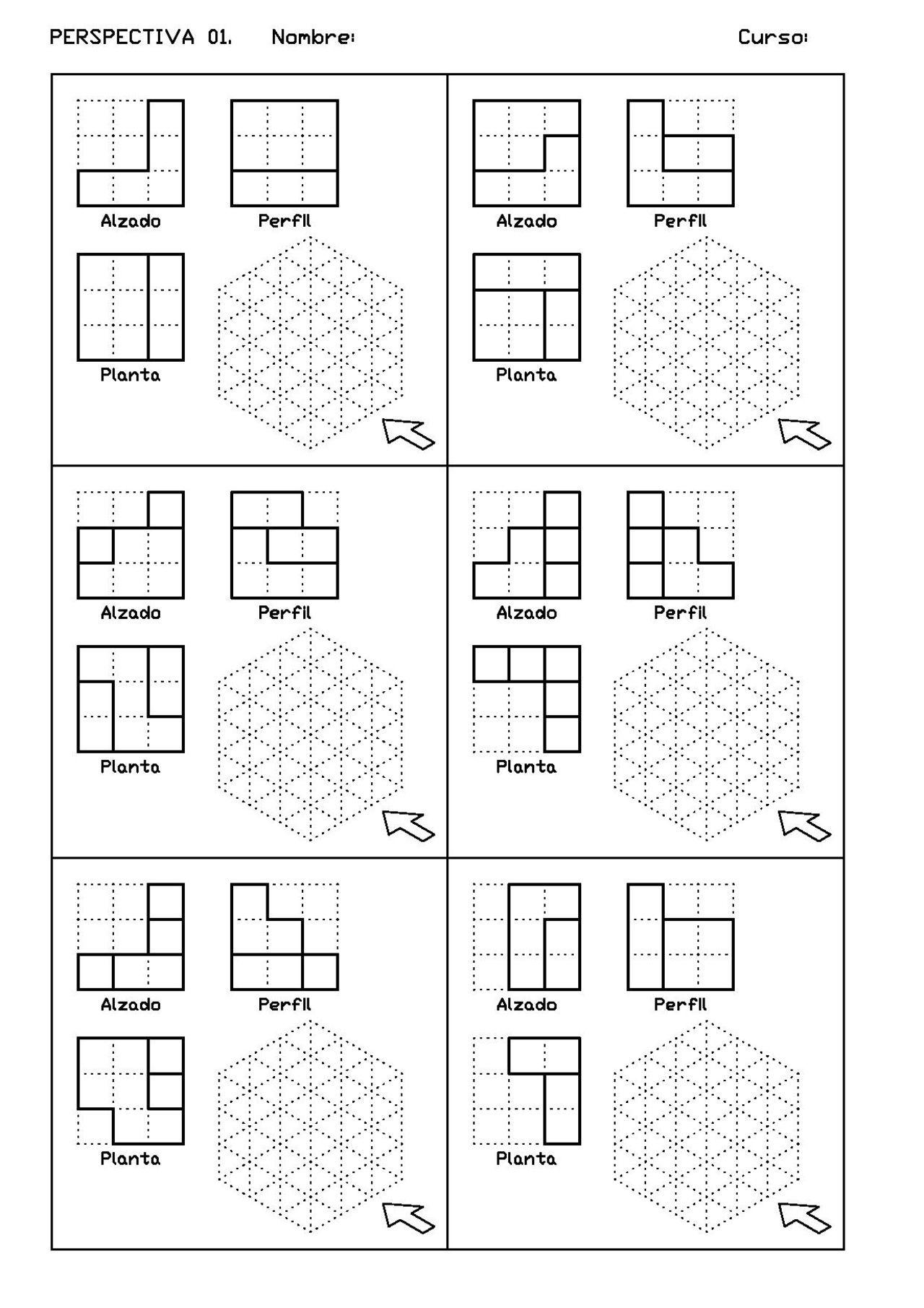 Ejercicios De Vistas Y Perspectivas Alzado Derecho Piezas Simples Dibujo Perspectiva Ejercicios De Dibujo Tecnicas De Dibujo