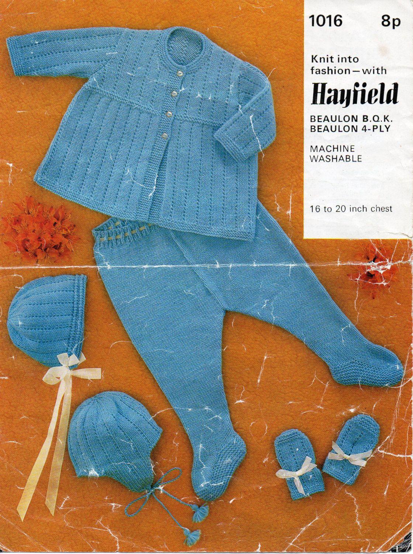 Vintage 4ply baby pram set knitting pattern PDF matinee coat ...