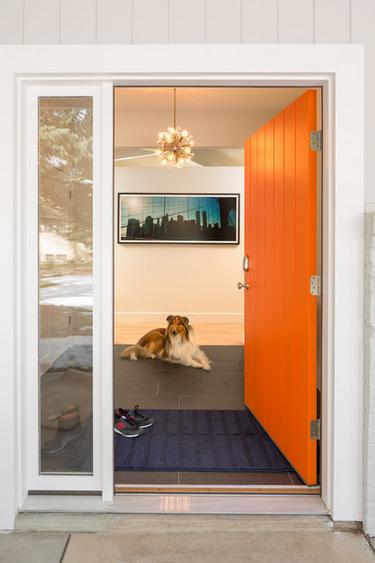 Langley Hawthorne Residence Midcentury Entry Denver By Design Platform Orange Front Doors Painted Front Doors Front Door Paint Colors
