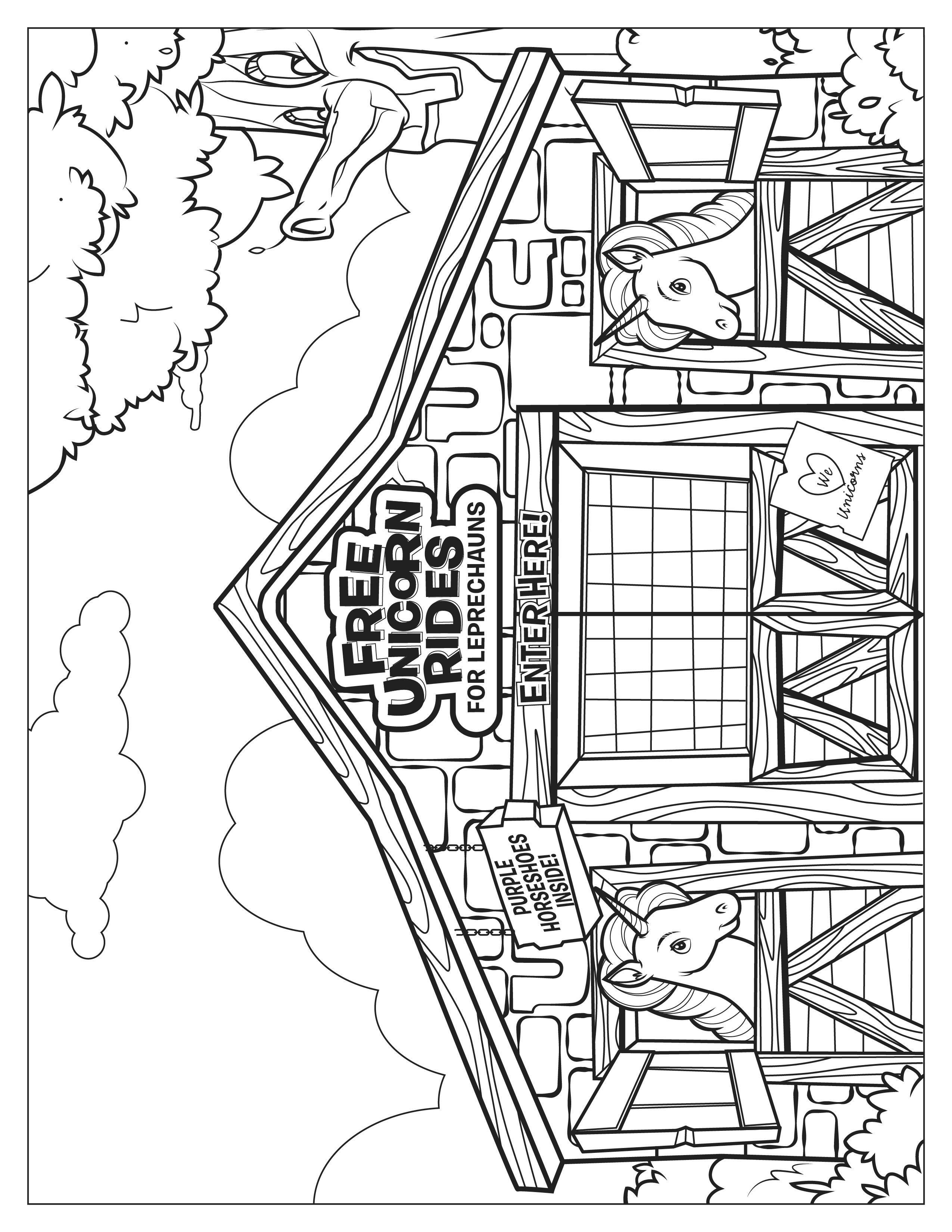 Lucky Charms Unicorn Stable Coloring Page Heart For Kids Lucky Charms Leprechaun Lucky Charm