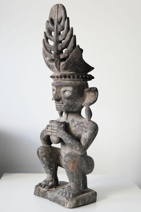 wooden Nias statue Adu Zatua, Ancestor figure, Indonesia
