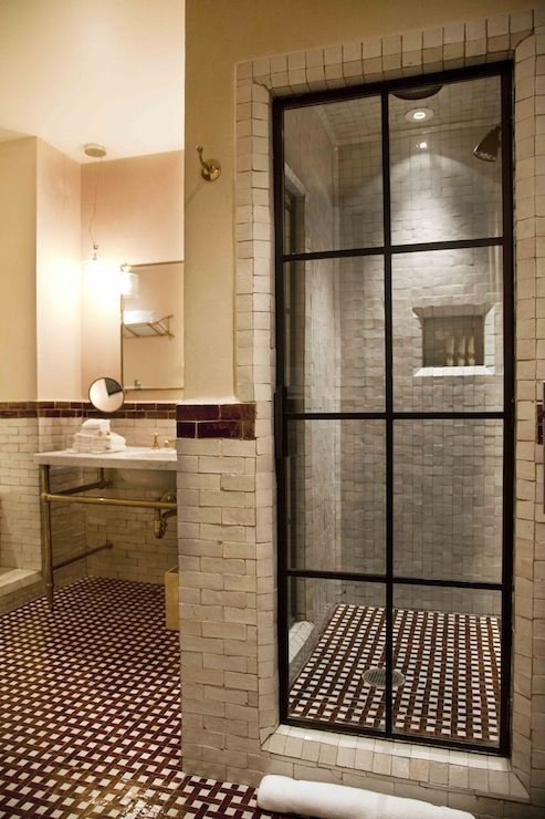 The greenwich hotel bathrooms steel glass paned shower door steel glass shower door stone - Decorative stone for bathrooms seven design inspiring ideas ...