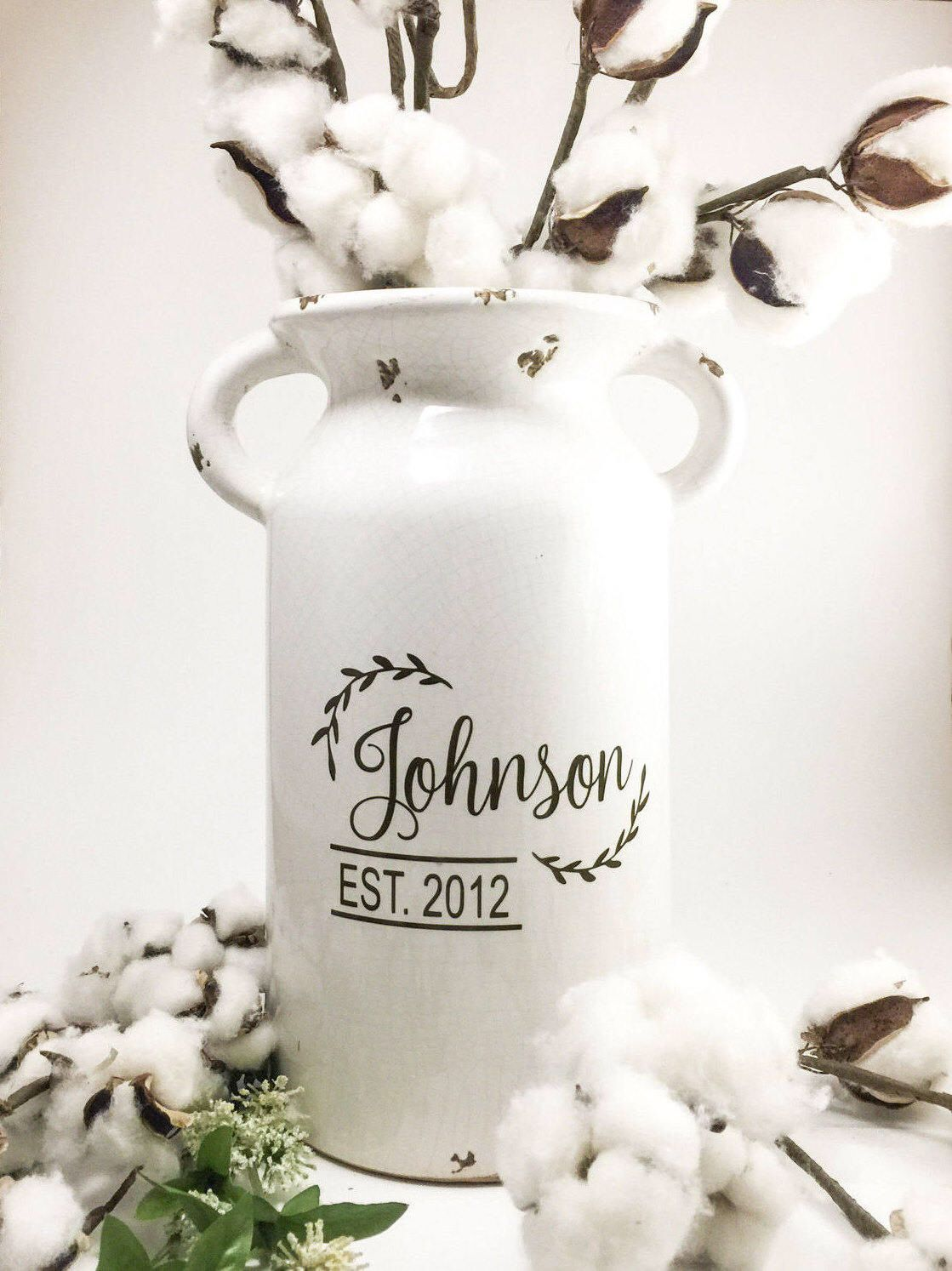 Personalized Milk Can, Farmhouse Style Custom Vase for