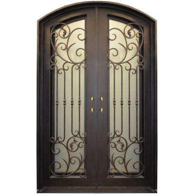 60 In X 96 In Center Arch Dark Bronze Wrought Iron Prehung Front Door Iron Entry Doors Wrought Iron Entry Doors Entry Doors