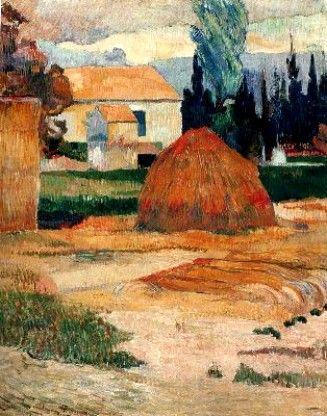 """PAUL GAUGUIN - """"Grange dans les environs d'Arles"""" (1882)  Huile sur toile (92 x 72)"""