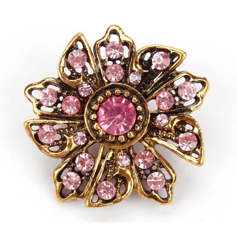 18MM Pink Flower Rhinestone Silver Snap Candy Charm KC7012 CC2114 1 PC