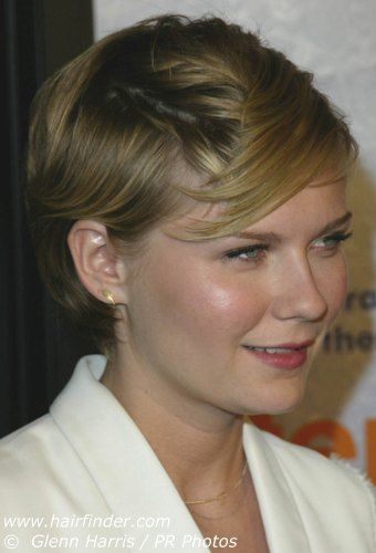 Kirsten Dunst Sporting A Sophisticated Short Haircut Or Pixie Round Face Haircuts Hair For Round Face Shape Haircuts For Round Face Shape