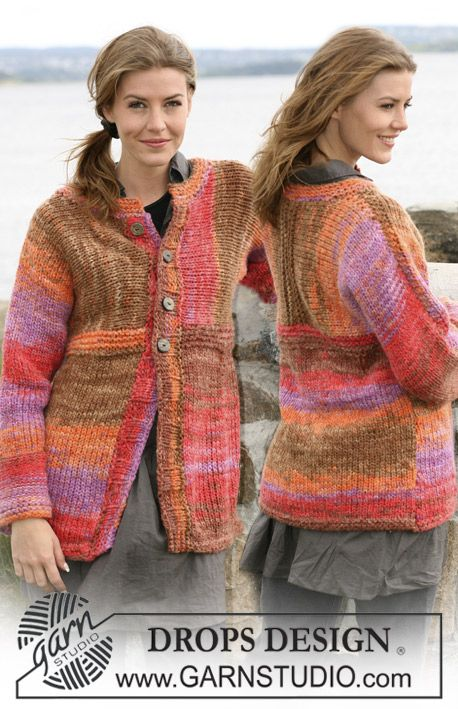 """DROPS jacket in """"Inka"""" knit in different directions. Size: S to XXXL ~ DROPS Design"""