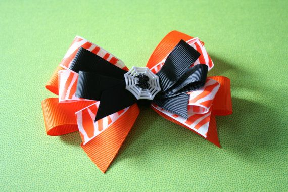 Fun Halloween Hair Bow Clip In Spider Web by JennyLouCreations, $5.50