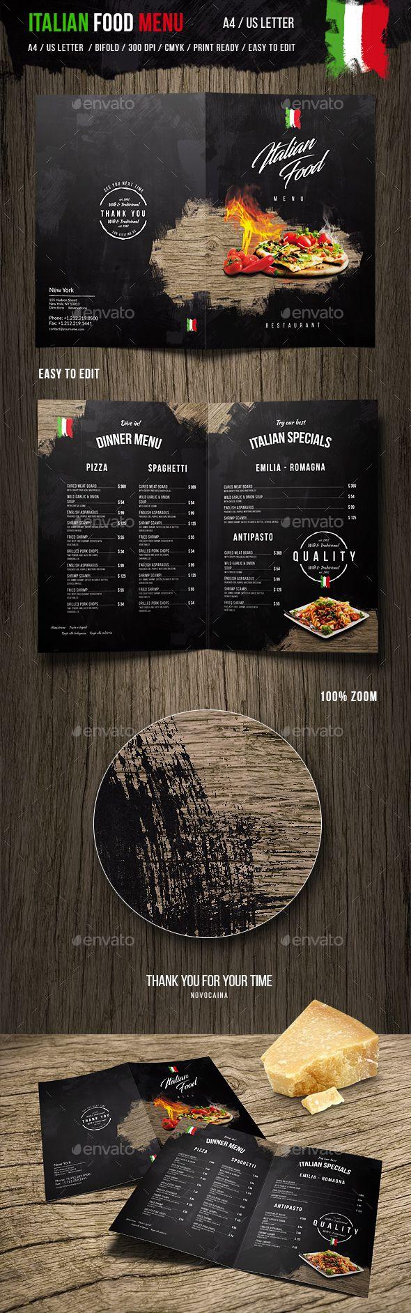 Italian Food Menu - A4 and US Letter | Pinterest | Menú de ...