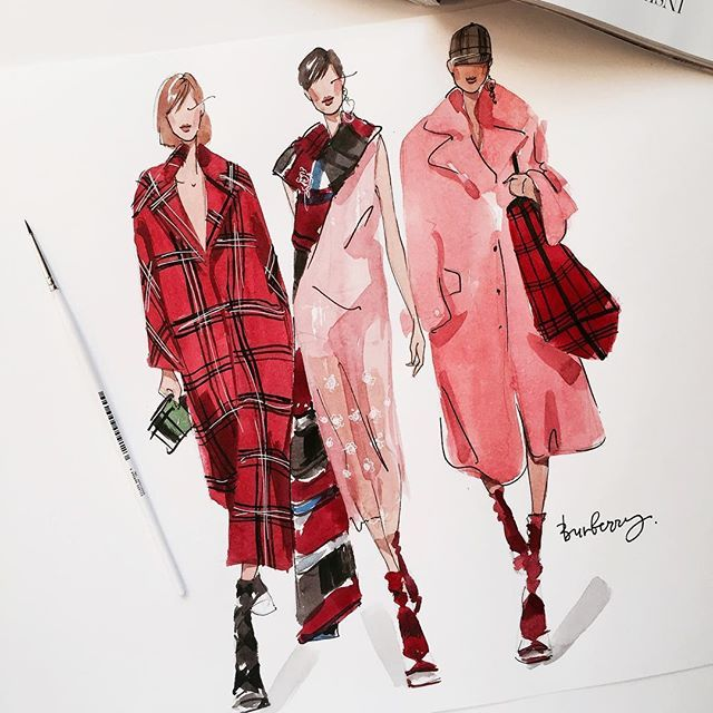 "Photo of Artist / Fashion Illustrator on Instagram: ""❣️Любимый показ на #lfwss18 @burberry #burberry #ms_art #marinasidneva_art #marinasidneva #london #londonfashionweek #art #artist…"""