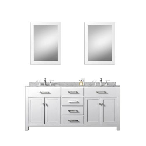Pure White 60 Inch Double Sink Bathroom