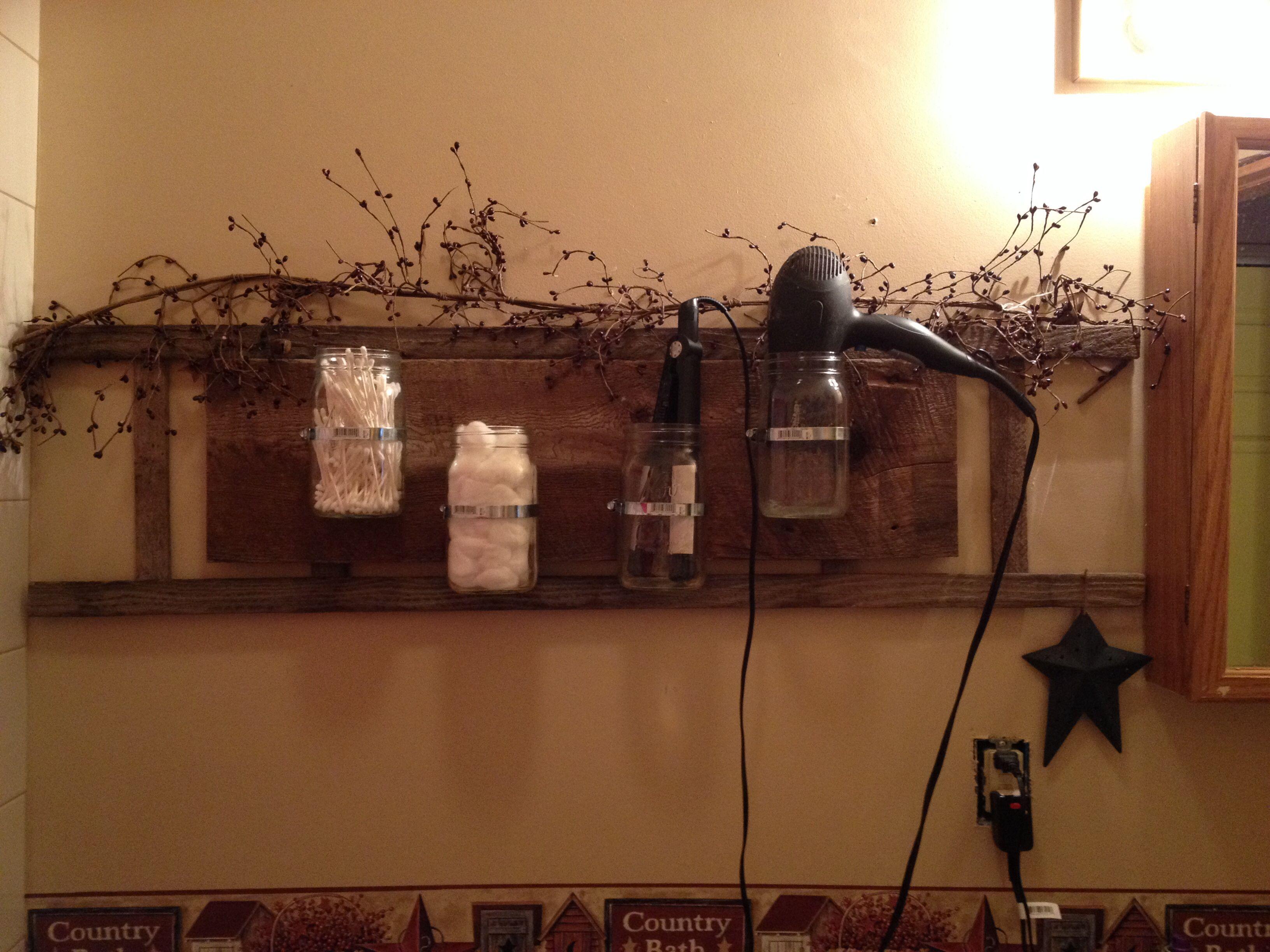 Q-tip, Cotton ball, hair dryer & flat iron holder I made!