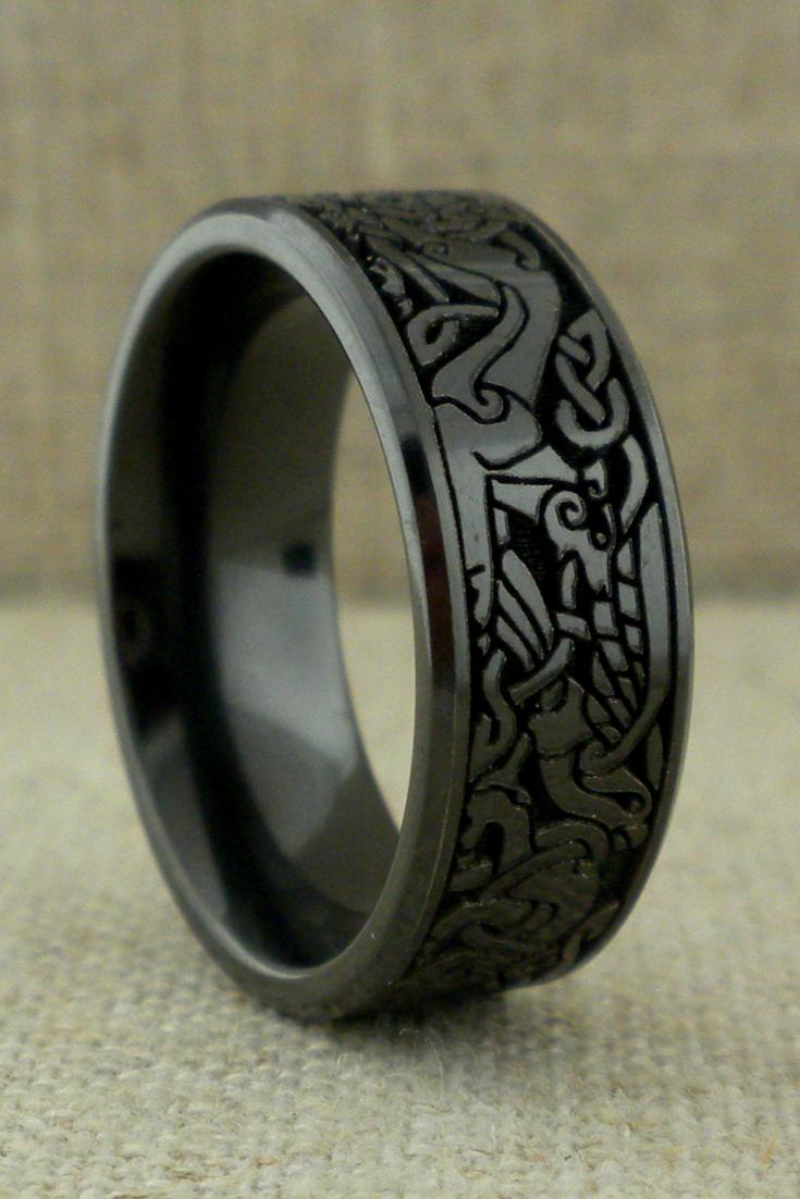 Celtic Book Of Kells Wedding Ring In Black Zirconium Unique Celtic Wedding Rings Celtic Wedding Rings Celtic Wedding Bands Black Wedding Rings