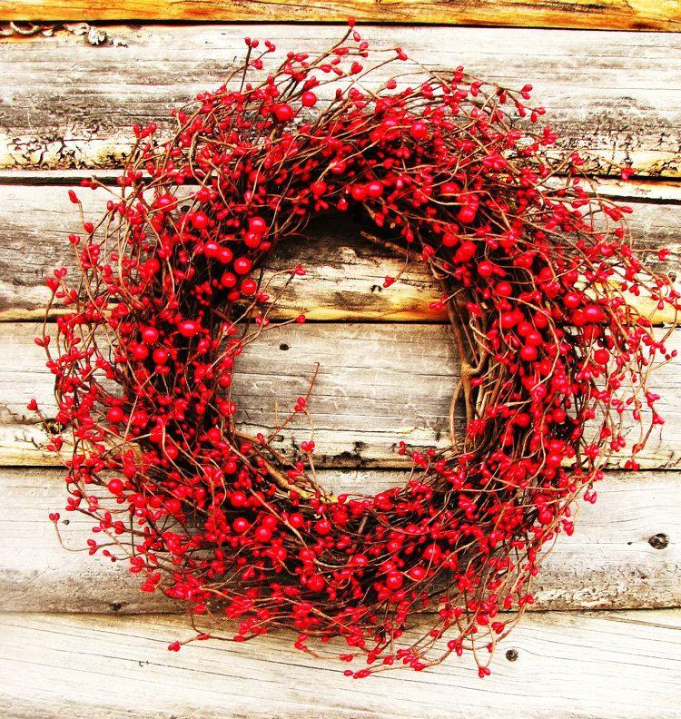 Valentines Day Wreath-Winter Wreath-RED BERRY by WildRidgeDesign