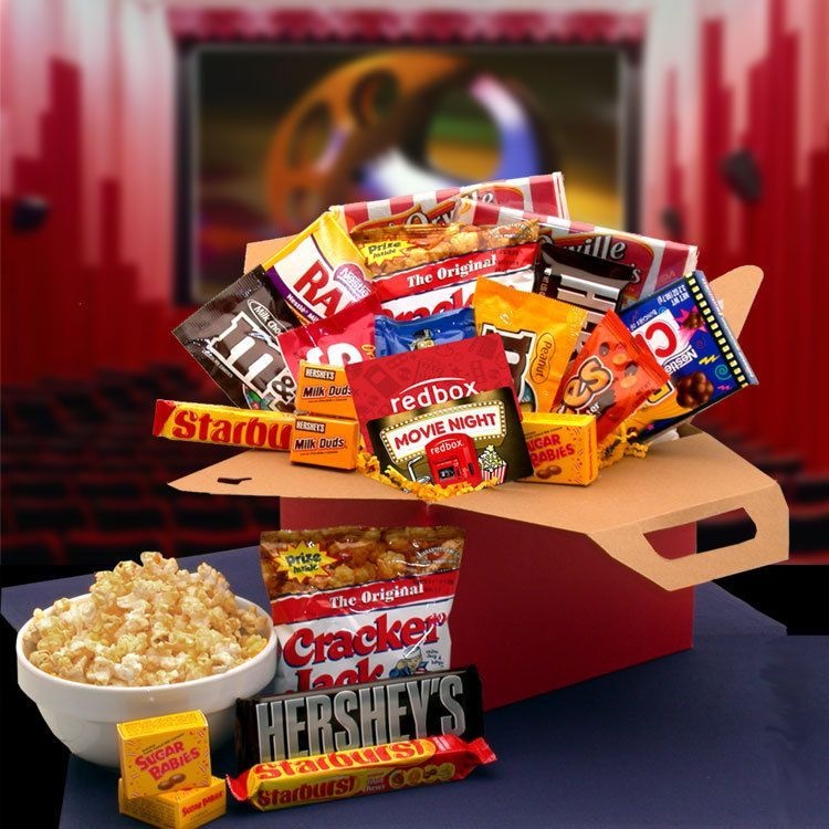 Care Package Blockbuster Movie Night #movienightgiftbasket Movie buffs and couch potatoes alike will delight in our Movie Night Movie Care Package. They can just press play enjoy their way into a relaxing evening of fun and delicious treats! This all-star cast of favorite theater goodies features all their favorite movie time munchies as well as an optional Redbox Gift Card. The Movie Night Care Package includes: 10.00 redbox gift card Starburst Fruit flavored candies, Mini Sugar Babies candi